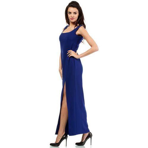 Wieczorowa długa sukienka z efektownym rozcięciem chabrowa MOE202 (5902041150469)