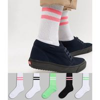 sport style socks with neon green & bright pink highlights 5 pack - multi, Asos design
