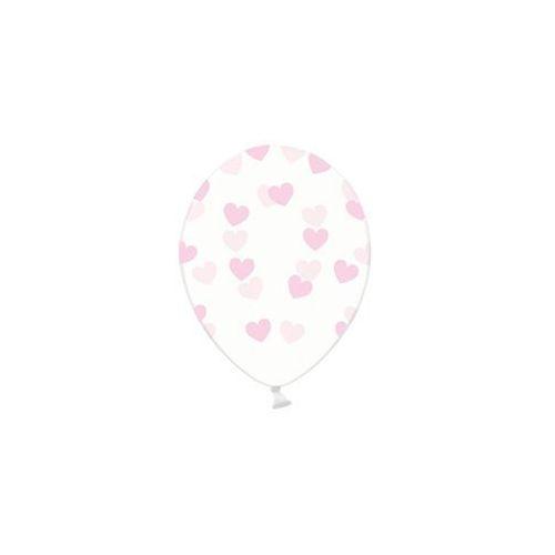 Balony przeźroczyste serduszka różowe - 30 cm - 1 szt. marki Party deco