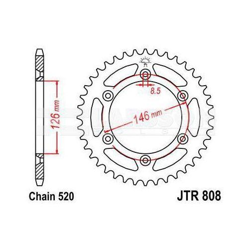 Jt sprockets Zębatka tylna stalowa jt 808-49, 49z, rozmiar 520 2301266 suzuki dr 350, rm 125