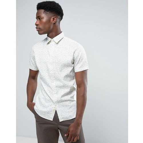 Selected Homme Short Sleeve Shirt in Slim Fit with All Over Print - Cream