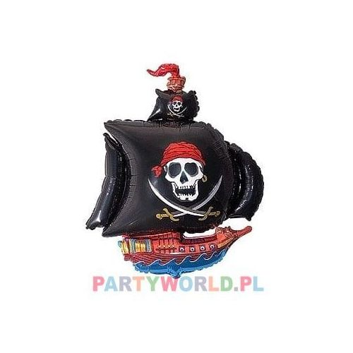 Twojestroje.pl Balon foliowy statek piracki czarny 24'' 1szt (5905548979496)