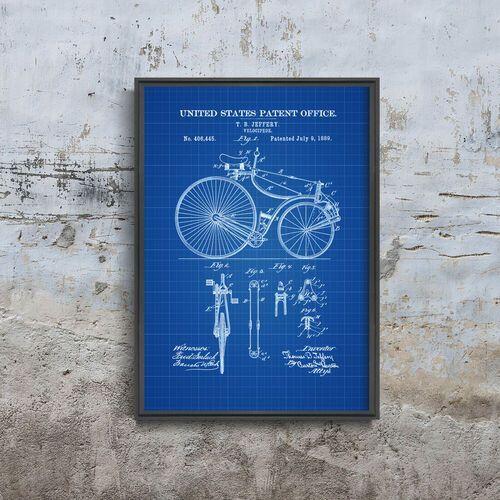 Plakat na ścianę Plakat na ścianę Rower patentowy Velocipede Jeffery United States