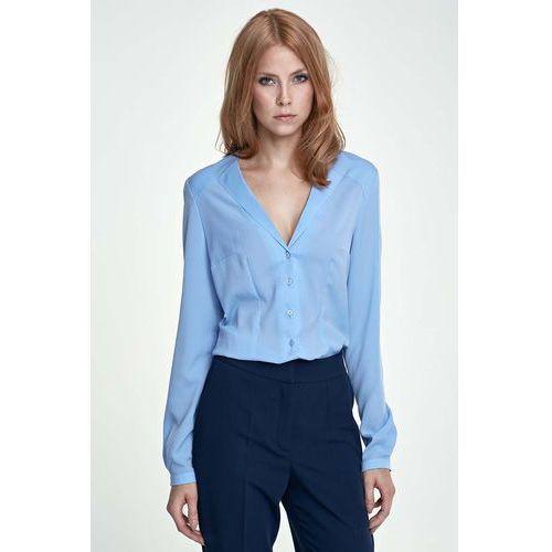 Błękitna Koszula Elegancka z Dekoltem V, kolor niebieski