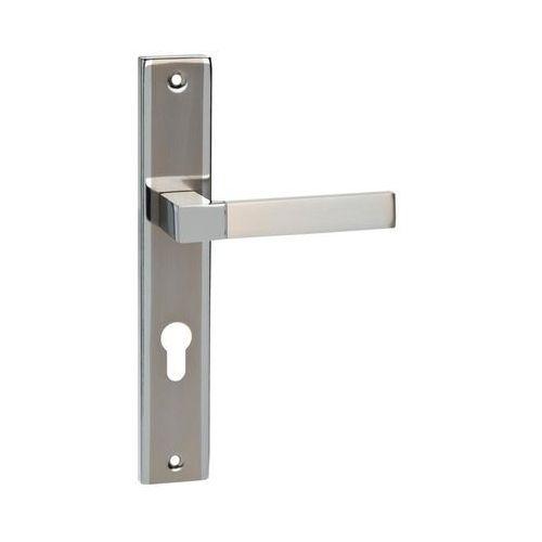 Klamka drzwiowa z długim szyldem do wkładki HELEN 72 Chrom/Nikiel szczotkowany SCHAFFNER (5907467742458)