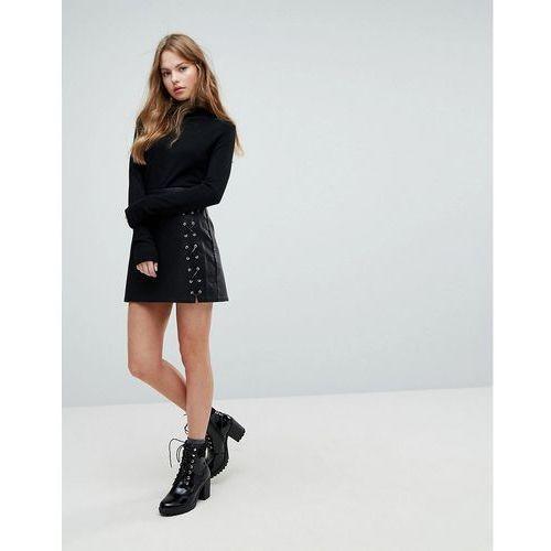 New Look Lace Up Pu Mini Skirt - Black, kolor czarny