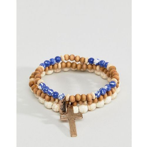 blue & cream beaded bracelet in 3 pack exclusive to asos - blue marki Icon brand