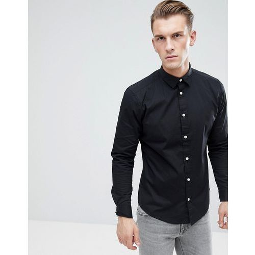 Esprit Slim Fit Cotton Poplin Shirt In Black - Black, kolor czarny