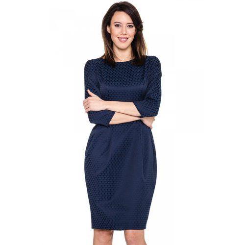 Granatowa sukienka w połyskujące wzory - Bialcon