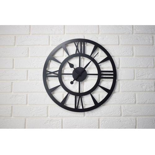 Zegar ścienny metalowy BEZGŁOŚNY Czarny Industrial Loft 45 cm ozdoba dekoracja nowoczesny elegancki, kolor czarny