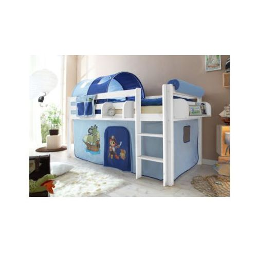 Ticaa kindermöbel Ticaa łóźko z drabinką malte sosna biały - pirat jasnoniebieski/ciemnoniebieski (4250393807762)
