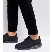 Asos wide fit lace up derby shoes in black leather with ribbed sole - black