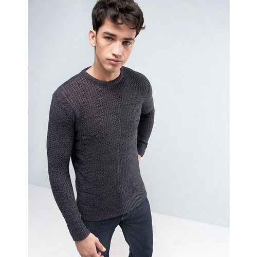 Brave soul  mens crew neck knitted jumper with beehive knit - black