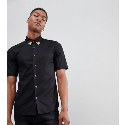 Reclaimed Vintage Inspired Shirt With Collar Tips And Short Sleeves - Black, w 2 rozmiarach