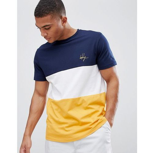 New look colour block t-shirt with brooklyn embroidery in green - yellow