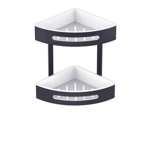 koszyk podwójny narożny, wkłady z tworzywa białe 16.072-b czarny mat marki Stella