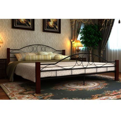 Vidaxl czarne, metalowe łóżko, 140 x 200 cm + materac z pianki anatomicznej