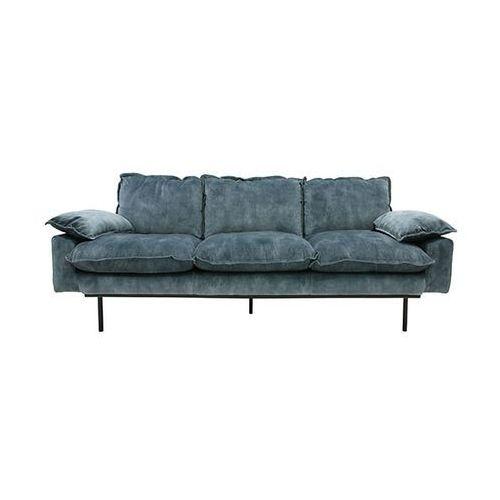 HK Living Sofa Retro 3-osobowa velvet w kolorze niebieskim MZM4665, kolor niebieski