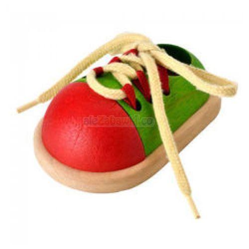 Plan toys Drewniana zabawka zawiąż but - nauka sznurowania, , plto-5319