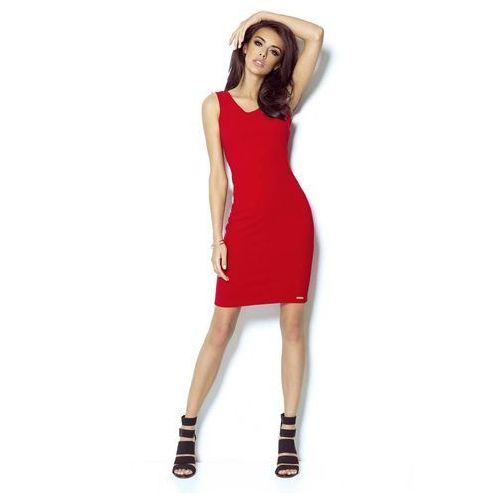dc97ed5198 Czerwona Sukienka Ołówkowa z Dekoltem na Plecach