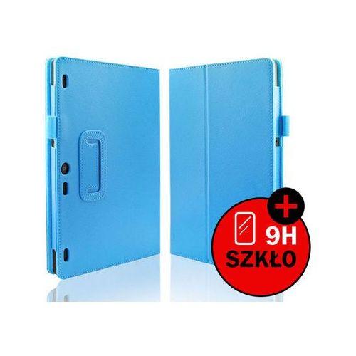 4kom.pl Niebieskie etui typu stand cover lenovo tab 2 a10-30 + szkło hartowane - niebieski