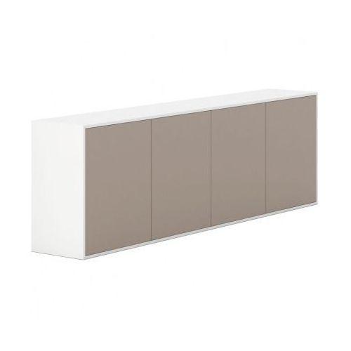Szafka z drzwiami długa White LAYERS, jasnobrązowe drzwi
