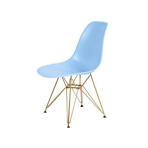 Krzesło do nowoczesnych jadalni na złotym stelażu dsr gold marki King home