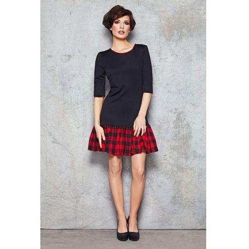 Czarno-czerwona ciekawa sukienka do pracy z falbanką w kratkę marki Infinite you