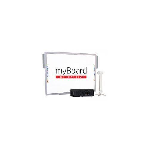 """Zestaw! tablica silver 70""""c + projektor przenośny * + uchwyt sufitowy 63-100 cm myboard bm6310a) + okablowanie 15 m (230v, hdmi) + głośniki amp-32 marki Myboard"""
