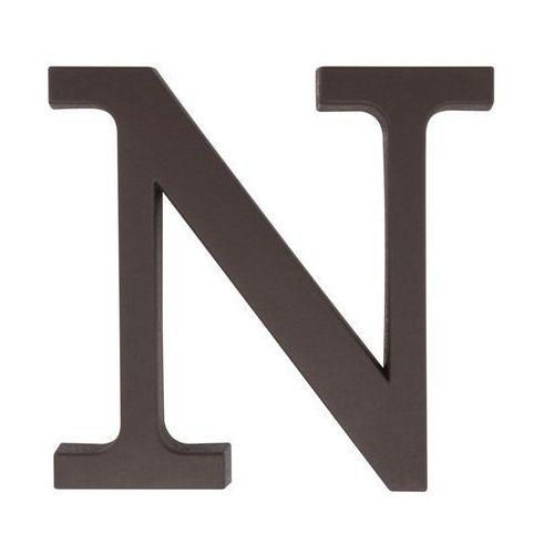 Litera N wys. 9 cm PVC brązowa
