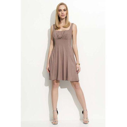 Cappuccino sukienka na szerokich ramiączkach, Makadamia, 36-42