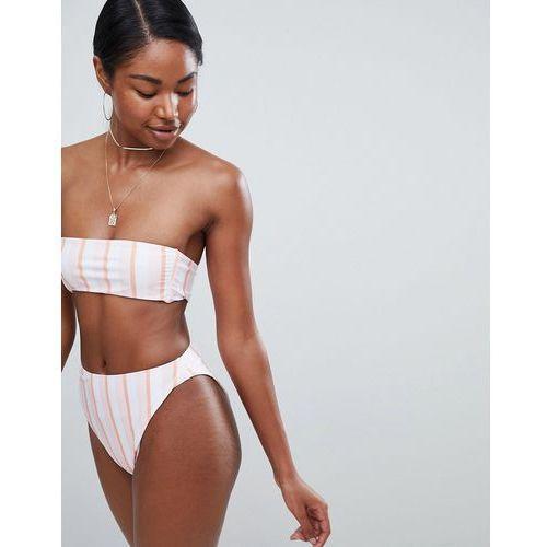high waist bikini bottoms in white pastel stripe - multi, Missguided