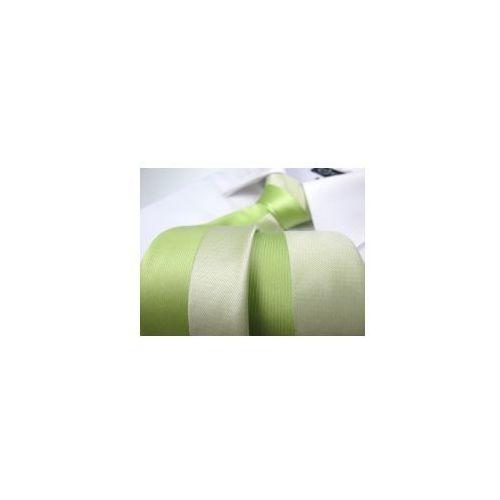 Krawat Męski Dunpillo ekri śledź w zielone paski P352