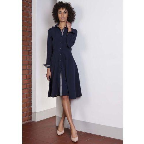 Granatowa sukienka szmizjerka z długim rękawem, Lanti, 34-44
