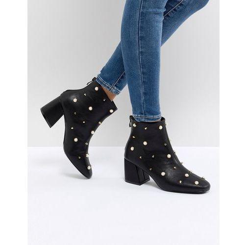 Glamorous pearl embellished heeled ankle boots - black
