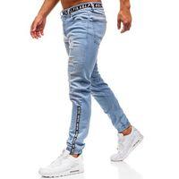 Spodnie jeansowe joggery męskie jasnoniebieskie Denley 2042