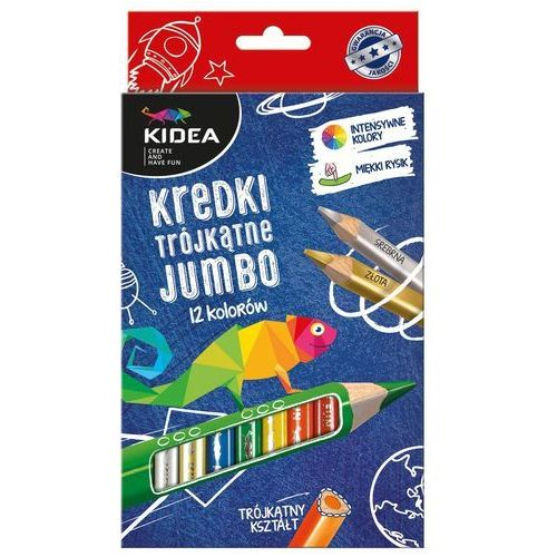 Derform Kredki trójkątne jumbo 12 kolorów. kidea + zakładka do książki gratis (5901130044160)