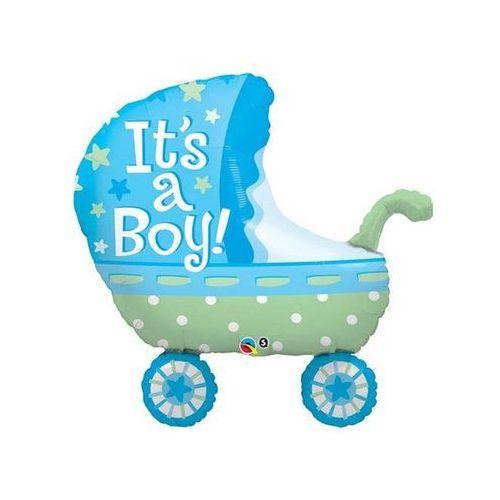 Balon foliowy Wózek niebieski - 89 cm - 1 szt.