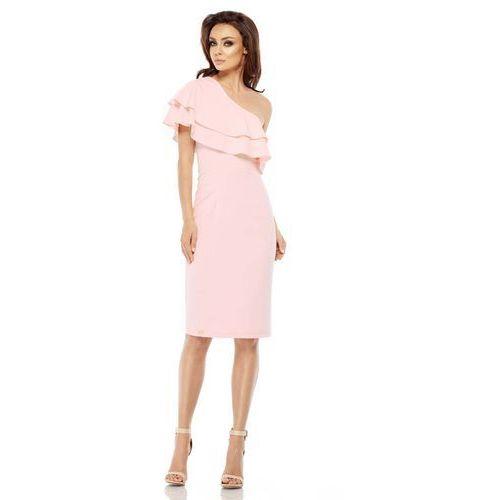 Różowa Dopasowana Sukienka z Falbanką na Jedno Ramię, GL254lpi