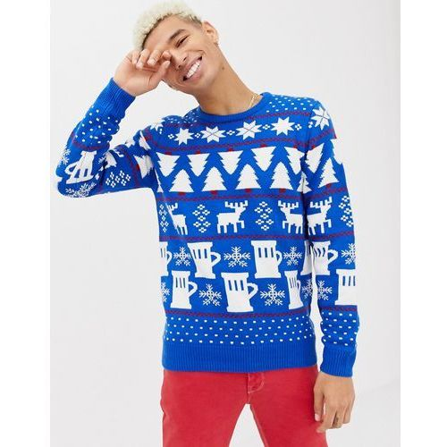 Burton menswear christmas light up beer & stags jumper in blue - blue