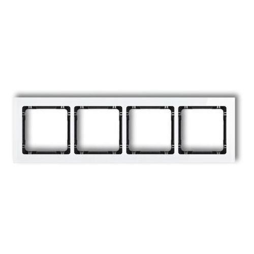 Karlik Deco biały/czarny - ramka efekt szkła 4-krotna - 0-12-DRS-4, 0-12-DRS-4