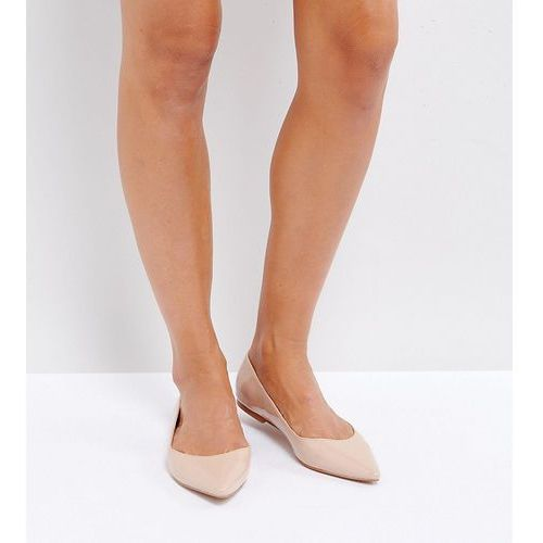 ASOS LATCH Wide Fit Pointed Ballet Flats - Beige