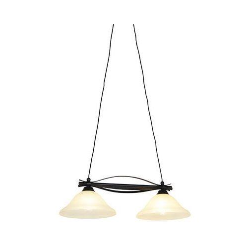 Klasyczna lampa wisząca brązowa z beżowym szkłem 2-lekkim - Pirata