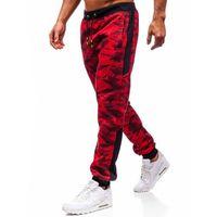 Spodnie męskie dresowe joggery czerwone denley 55017 marki J.style