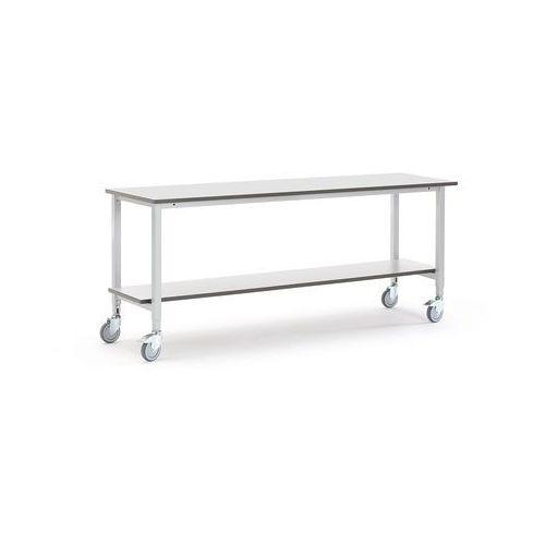 Mobilny stół roboczy MOTION, z półką dolną, 2000x600 mm, szary, 2740731
