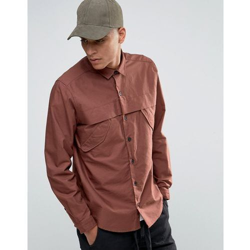 Asos  military shirt in rust with storm flaps and long sleeves in regular fit - red