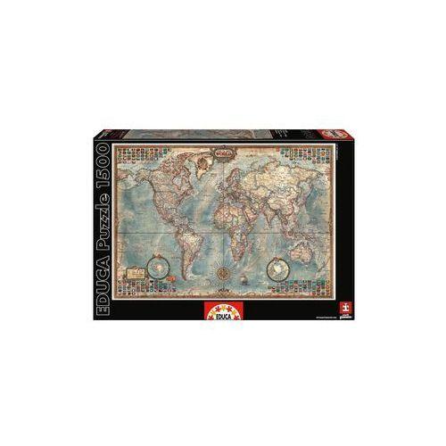 Puzzle 1500 Świat mapa stylizowana polityczna - Lider Serwis