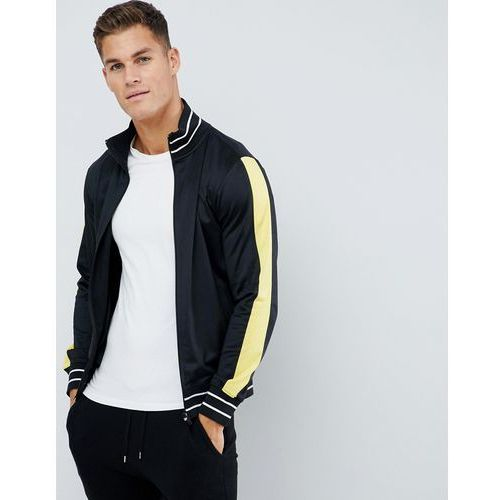 Another Influence Trecot Paneled Zip Through Jacket - Black