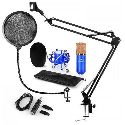 CM001BG Zestaw V4 mikrofon pojemnościowy adapter USB ramię pop-filtr niebieski