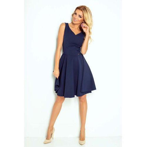 Granatowa Sukienka Elegancka Rozkloszowana na Szerokich Ramiączkach, kolor niebieski